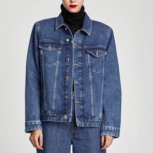 Zara Denim Jacket With Shoulder Pads Size S
